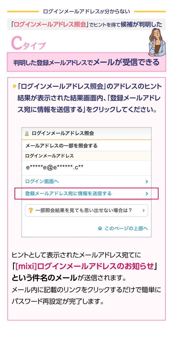 ログインメールアドレスの一部が表示されたページにある 「登録メールアドレス宛てに情報を送信する」 のリンクを選んでください。   一部が表示されていた メールアドレス 宛てに 「ログインメールアドレスのお知らせ」 という件名のメールが送信されます。メールに記載されたリンクを選ぶと、パスワードの再設定が完了します。