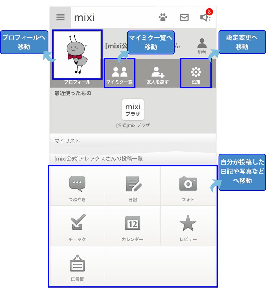 メニュー画面には、プロフィール確認画面、マイミク一覧の画面、設定変更の画面、自分が投稿したコンテンツなどへのリンクを備えています