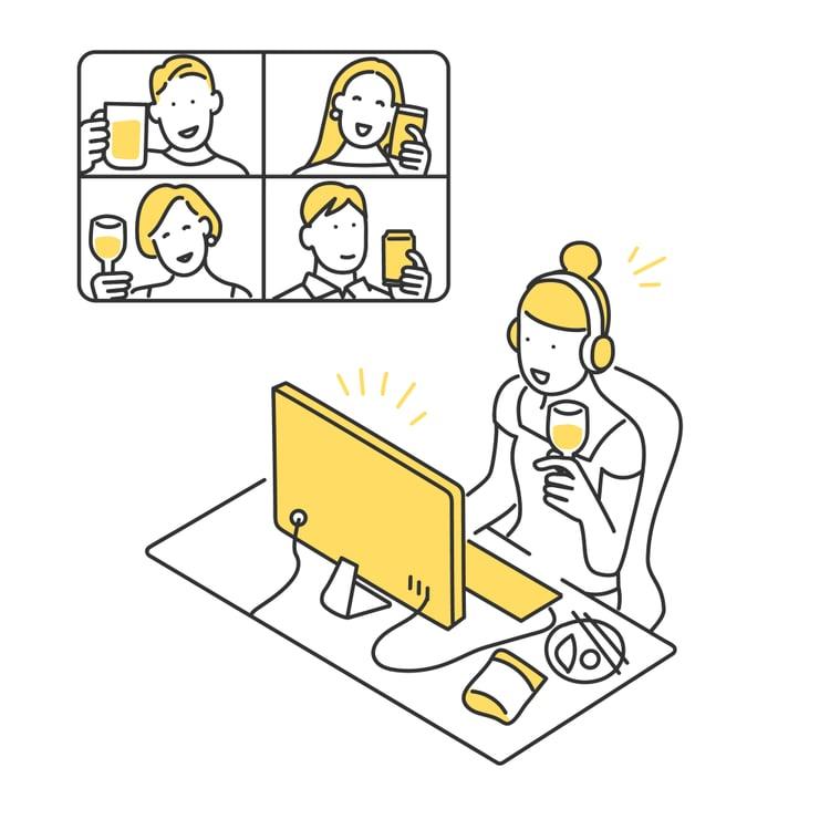 オンライン飲み会をする女性のイラスト素材